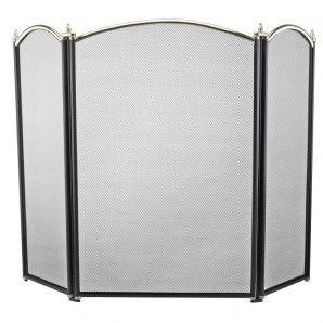 Dynasty 3 Fold Fireguard - Black & Pewter